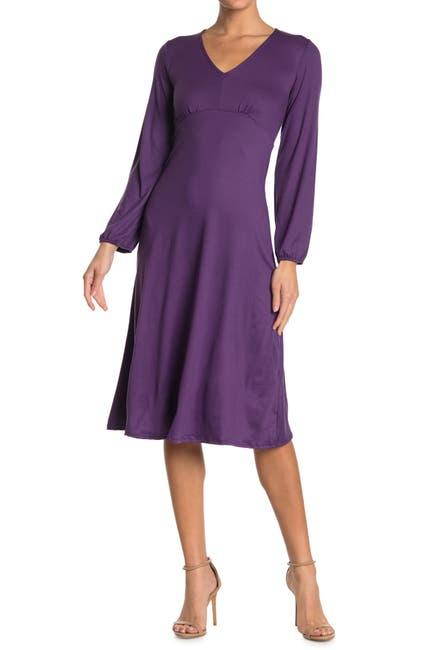 Image of Velvet Torch V-Neck Knit Midi Dress