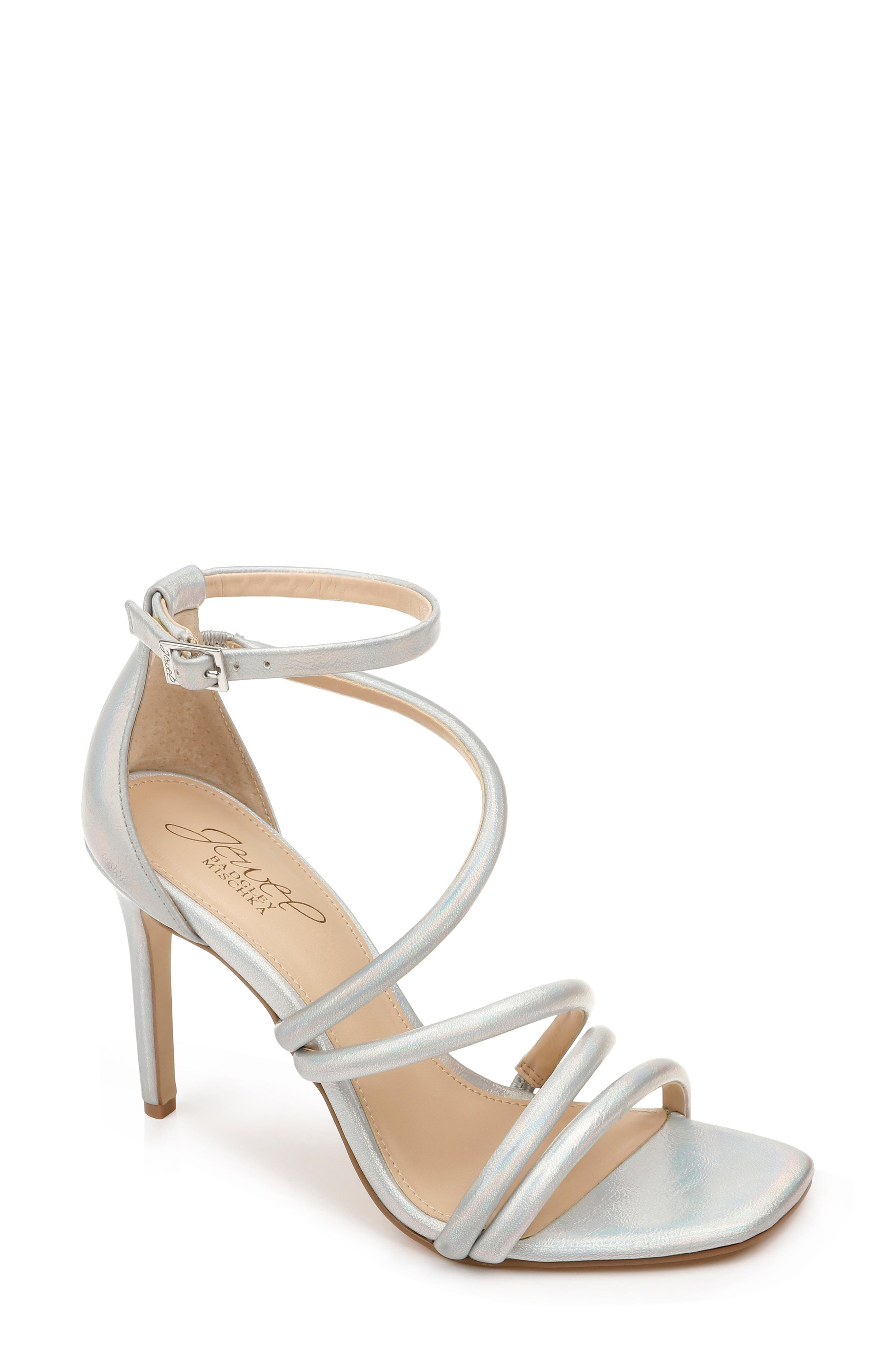 A shimmering iridescent finish elevates the event-worthy appeal of a lofty evening sandal topped with graceful rounded straps. Style Name: Jewel Badgley Mischka Nikkol Ii Sandal (Women). Style Number: 5998981. Available in stores.