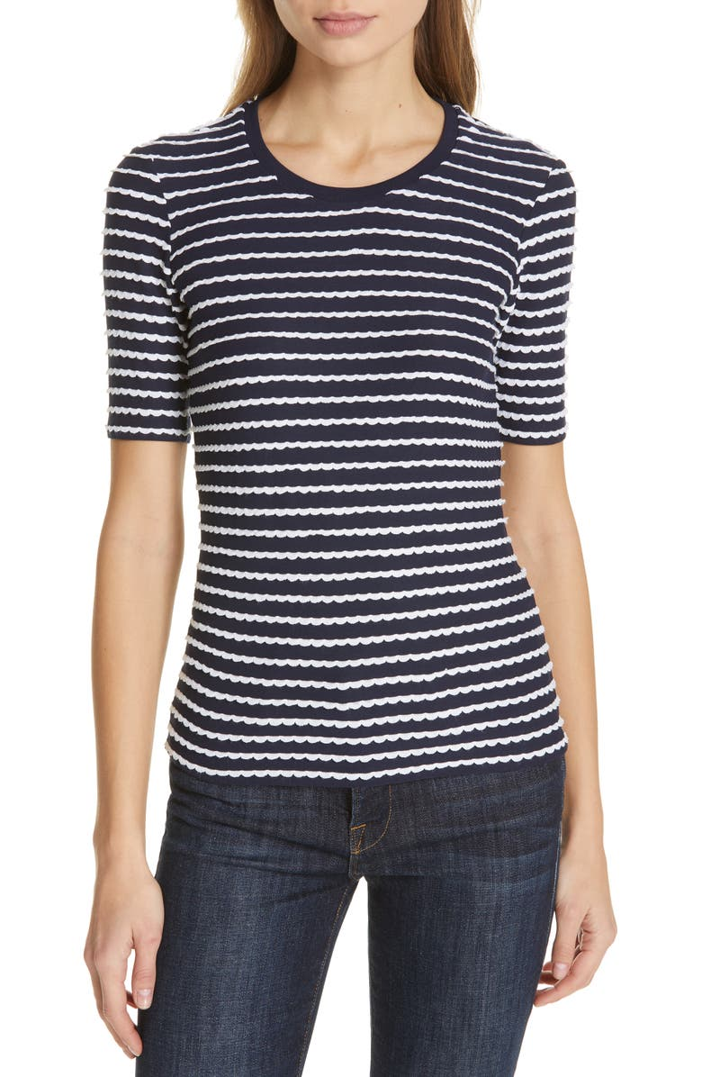 LA LIGNE Scallop Tee, Main, color, NAVY/ WHITE