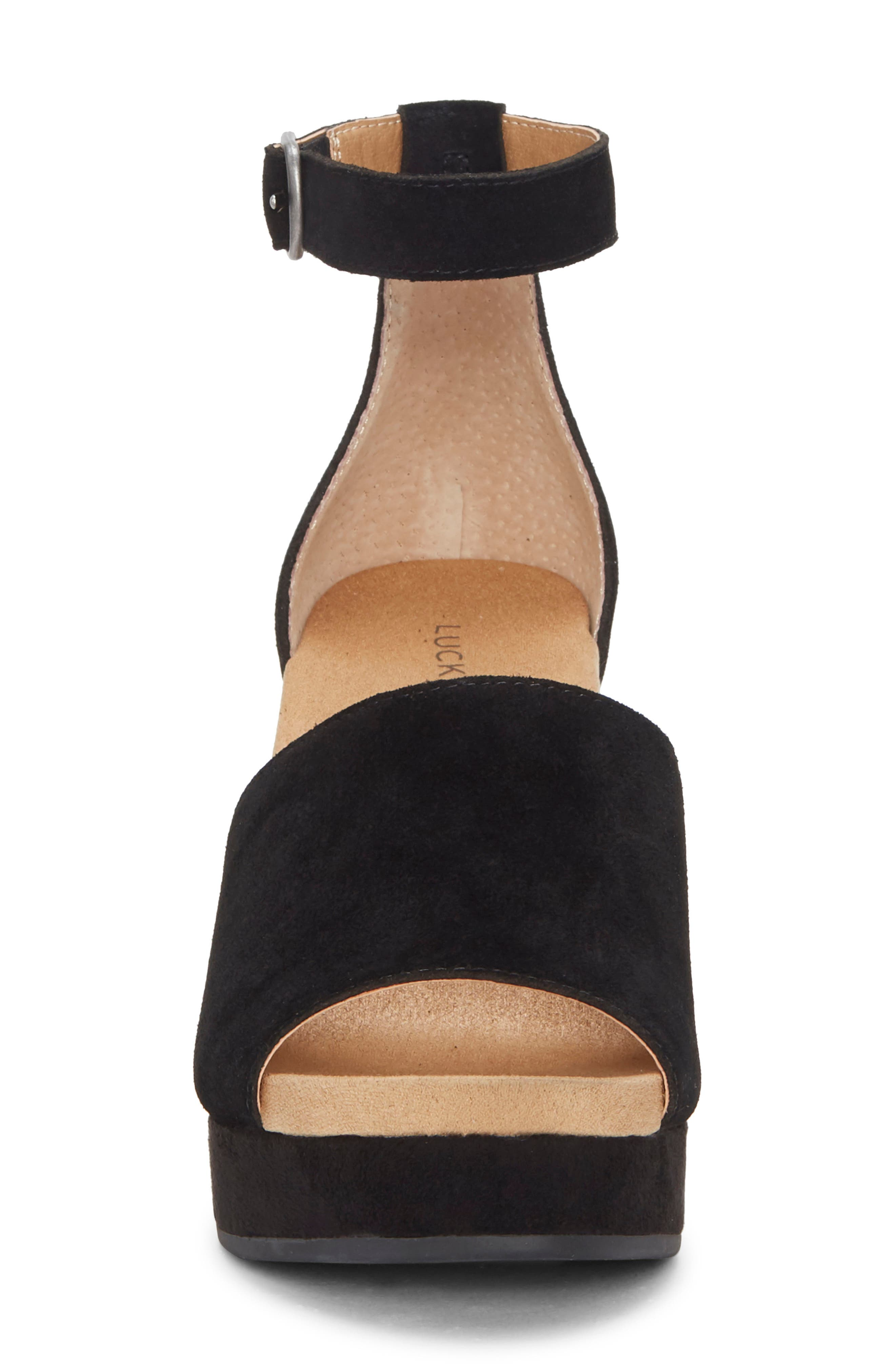 ,                             Yemisa Wedge Ankle Strap Sandal,                             Alternate thumbnail 4, color,                             BLACK OILED SUEDE