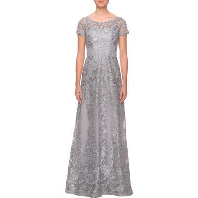 La Femme Shimmer Lace Gown, Grey