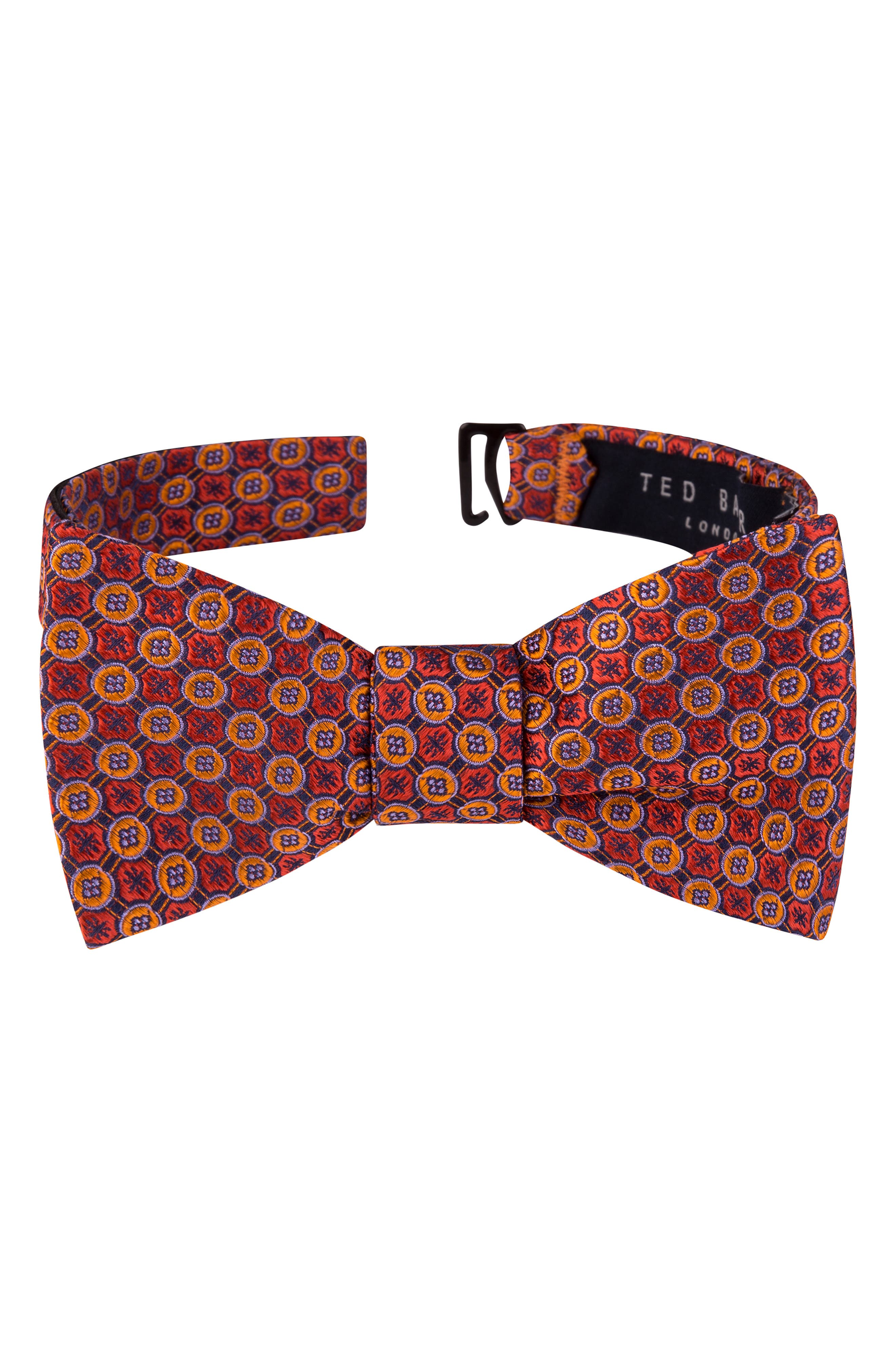 Men's 1920s Style Ties, Neck Ties & Bowties Mens Ted Baker London Geometric Silk Bow Tie Size One Size - Orange $59.50 AT vintagedancer.com