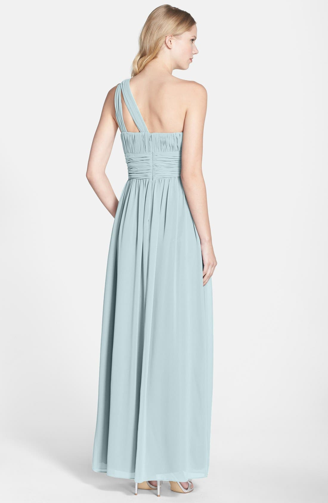 ,                             'Rachel' Ruched One-Shoulder Chiffon Gown,                             Alternate thumbnail 62, color,                             400