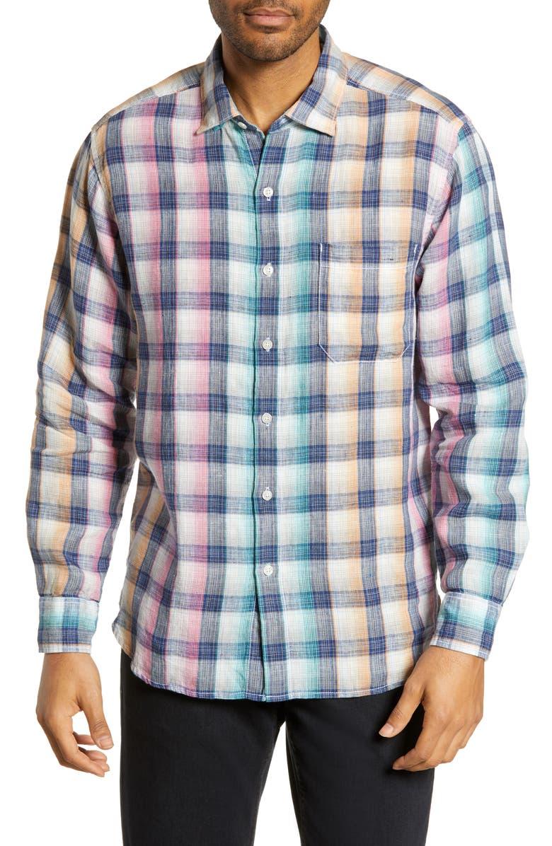 TOMMY BAHAMA Polynesian Plaid Classic Fit Shirt, Main, color, 100
