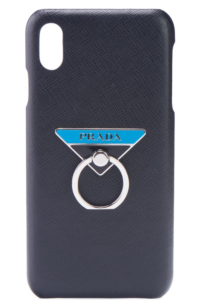 PRADA Logo Ring Saffiano Leather iPhone X Case, Main, color, NERO