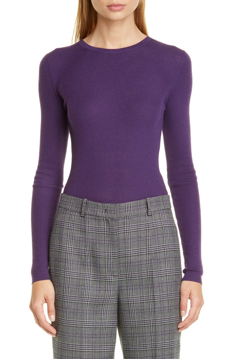 MICHAEL KORS COLLECTION Michael Kors Crewneck Cashmere Sweater, Main, color, AUBERGINE