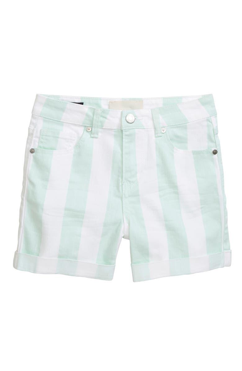 HABITUAL GIRL Dolly Stripe Cuffed Shorts, Main, color, AQUA