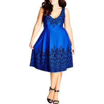 Plus Size City Chic Border Flocked Fit & Flare Dress