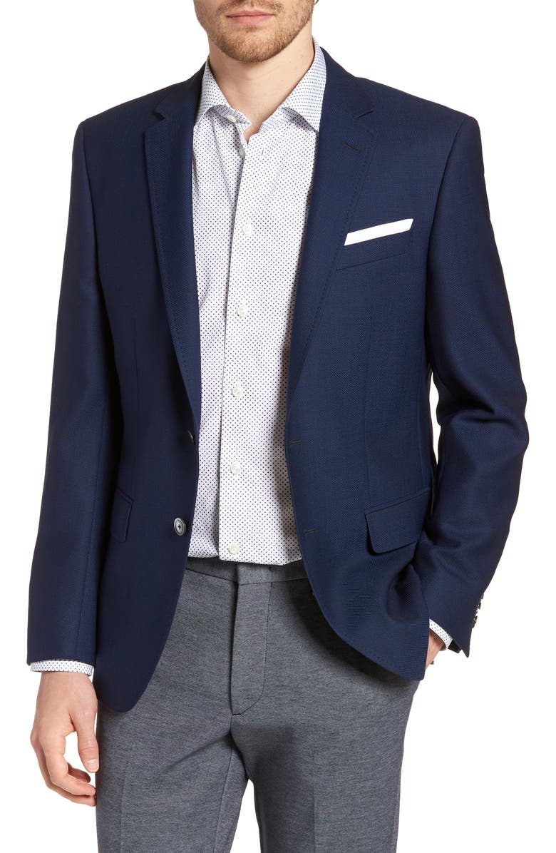 BOSS Hutsons Slim Fit Wool Blazer, Main, color, BLUE