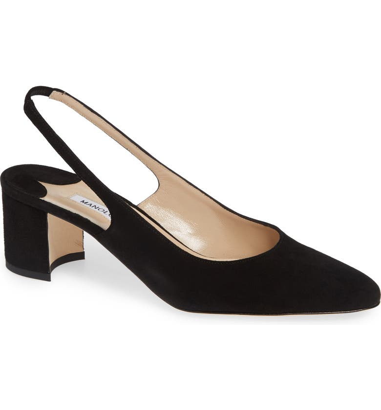 MANOLO BLAHNIK Allurasa Slingback Pump, Main, color, BLACK SUEDE