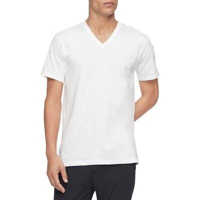 Calvin Klein 3-Pack Cotton V-Neck T-Shirt, White