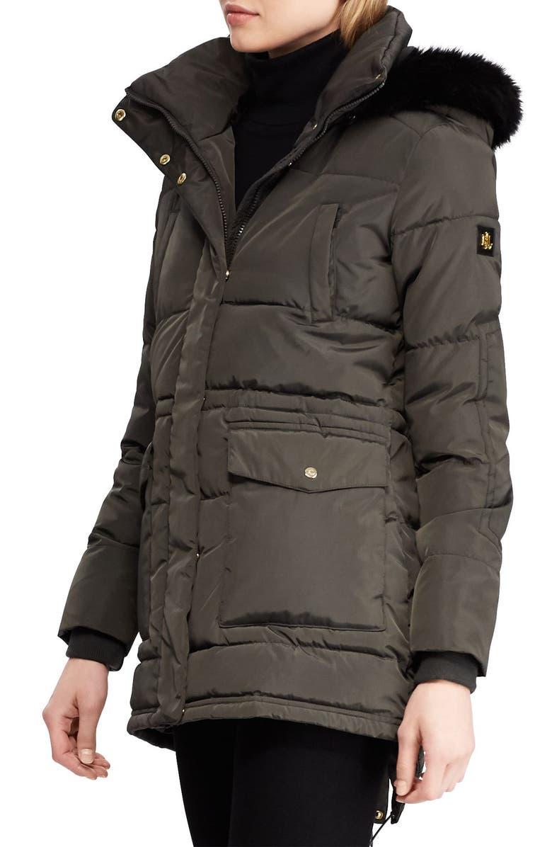 LAUREN RALPH LAUREN Puffer Coat with Faux Fur Trim, Main, color, DARK MOSS