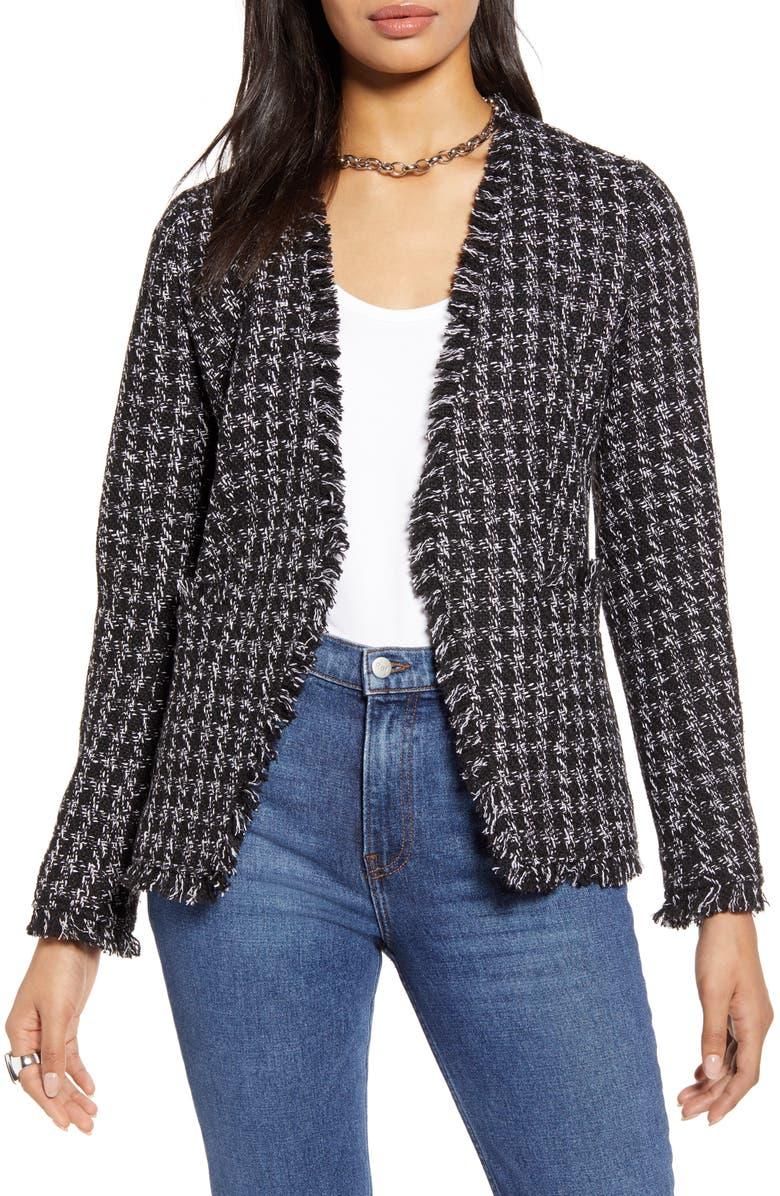 HALOGEN<SUP>®</SUP> Tweed Jacket, Main, color, BLACK- IVORY TWEED