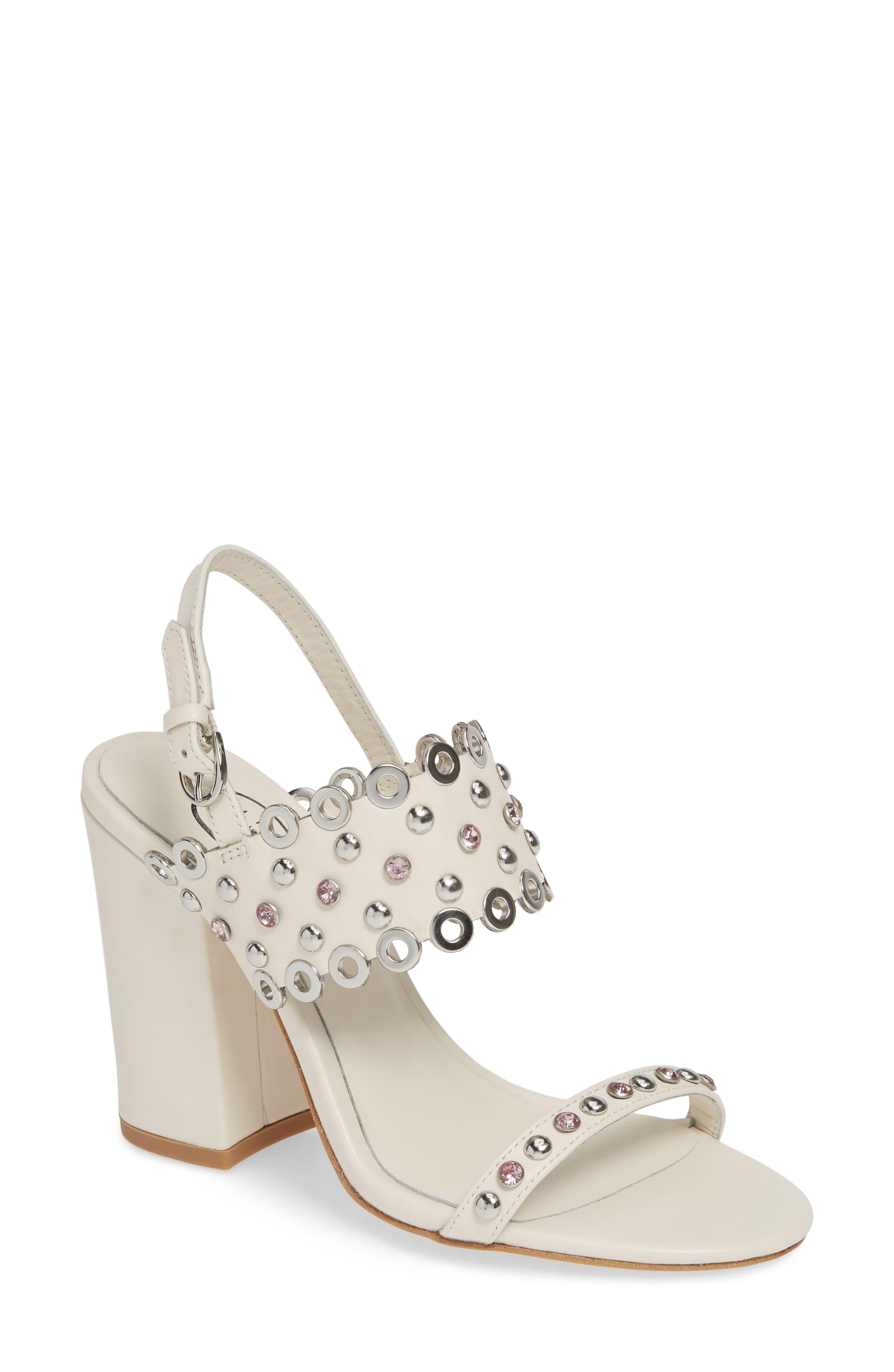 Ash Lucy Studded Quarter Strap Sandal, White
