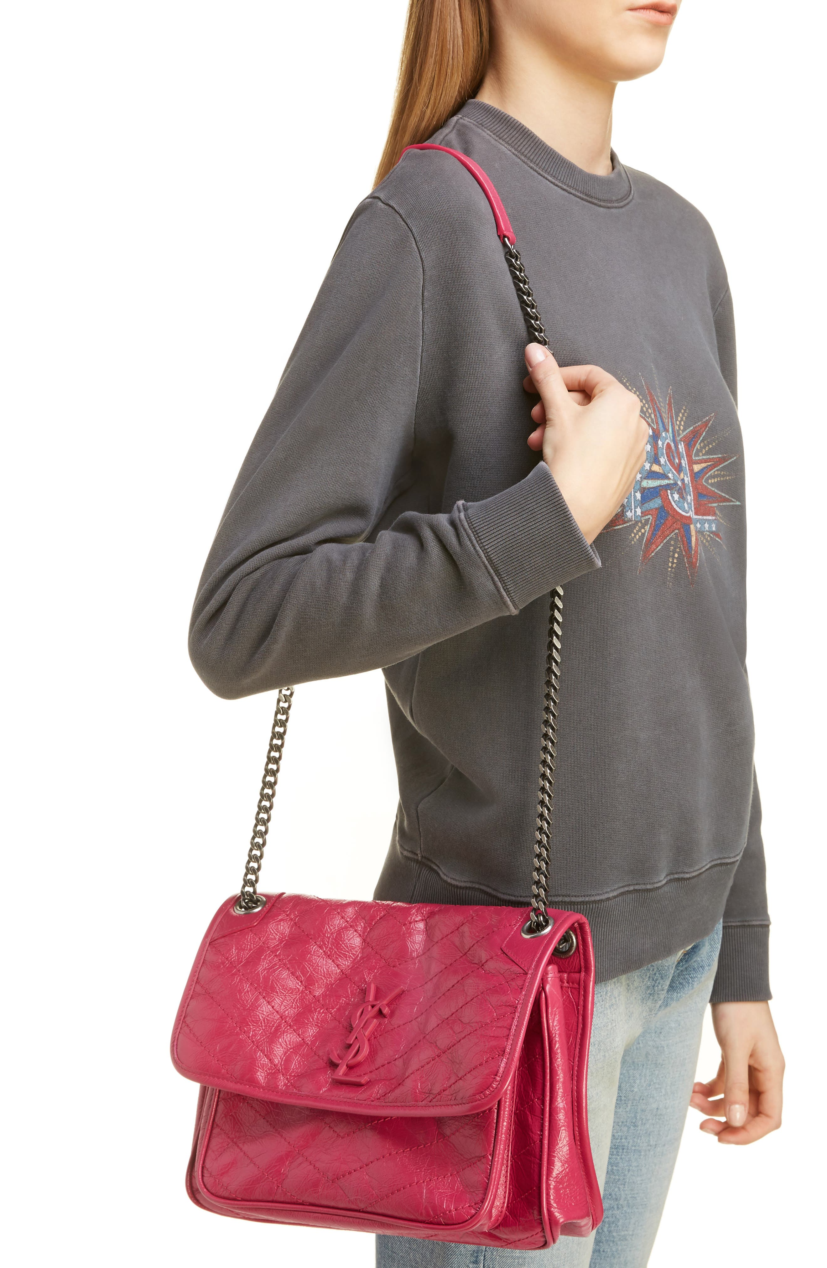 ,                             Medium Niki Leather Shoulder Bag,                             Alternate thumbnail 2, color,                             FREESIA/ FREESIA