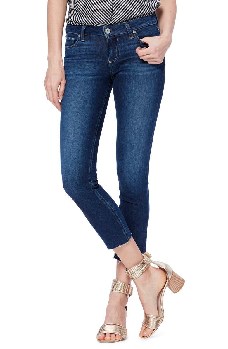 PAIGE Transcend Vintage - Skyline Raw Hem Crop Skinny Jeans, Main, color, GREECE