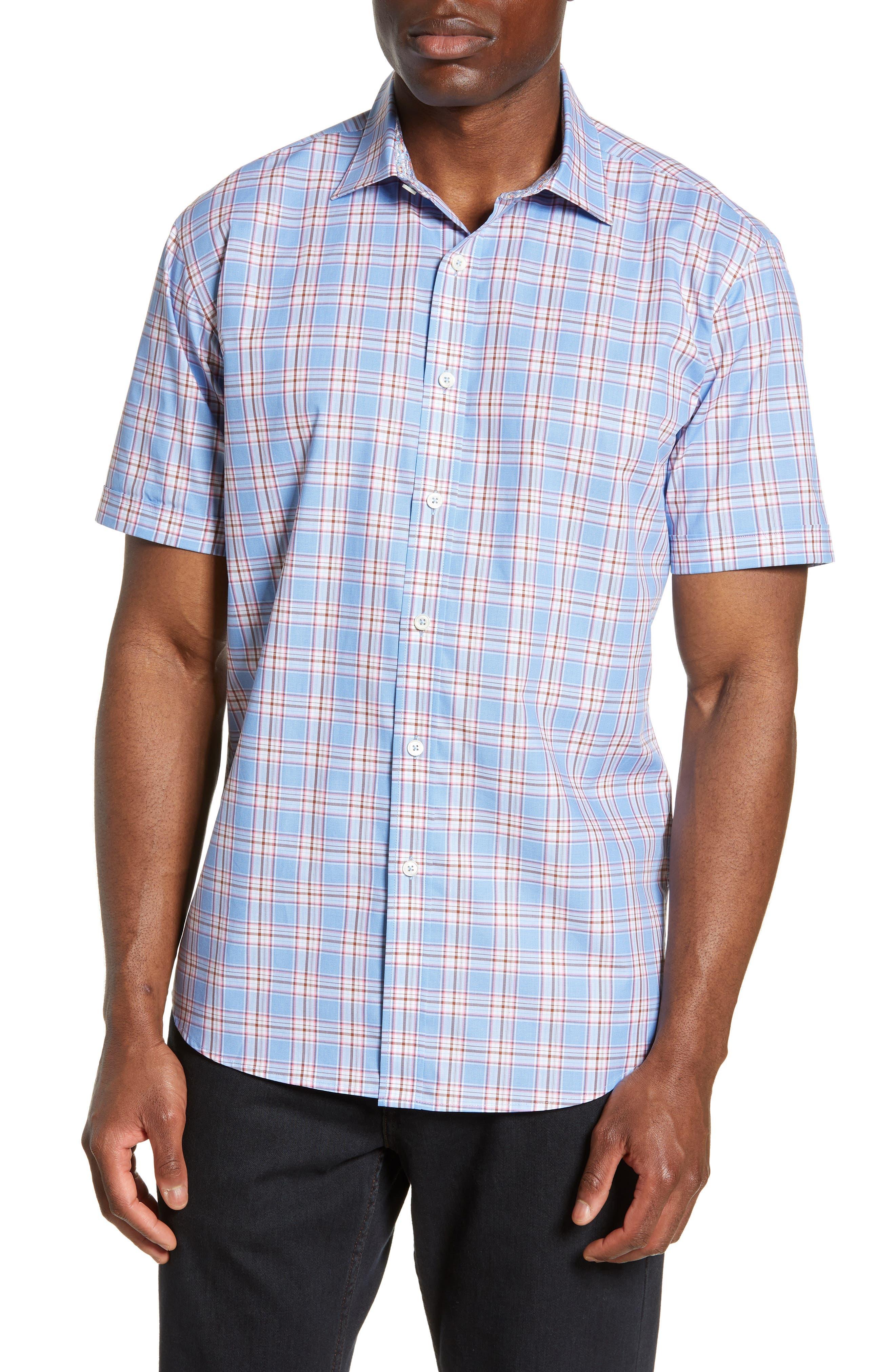 men's bugatchi shaped fit plaid shirt
