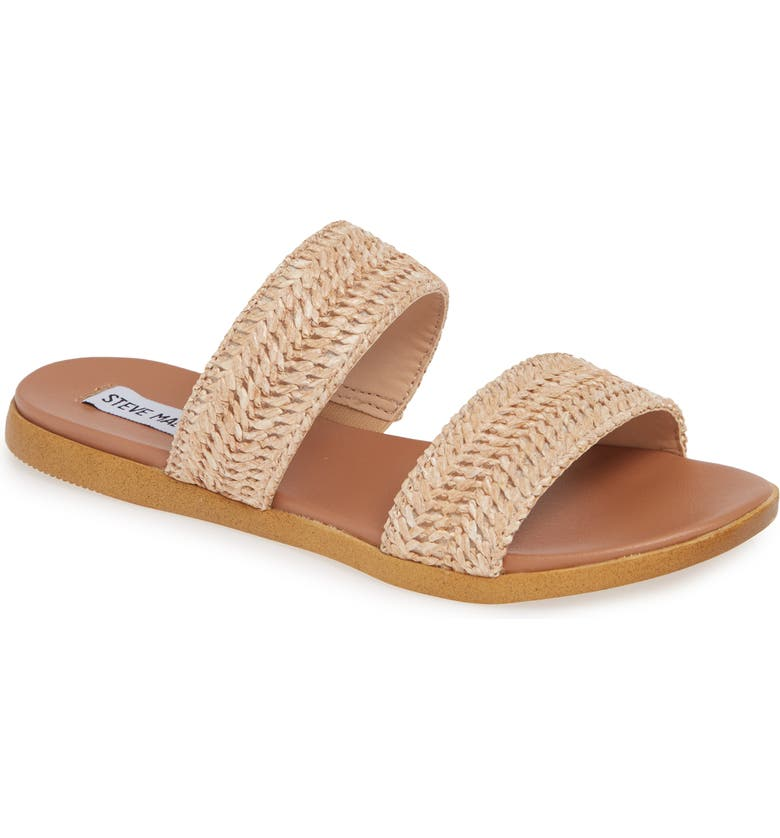 Dual Woven Slide Sandal, Main, color, NATURAL RAFFIA