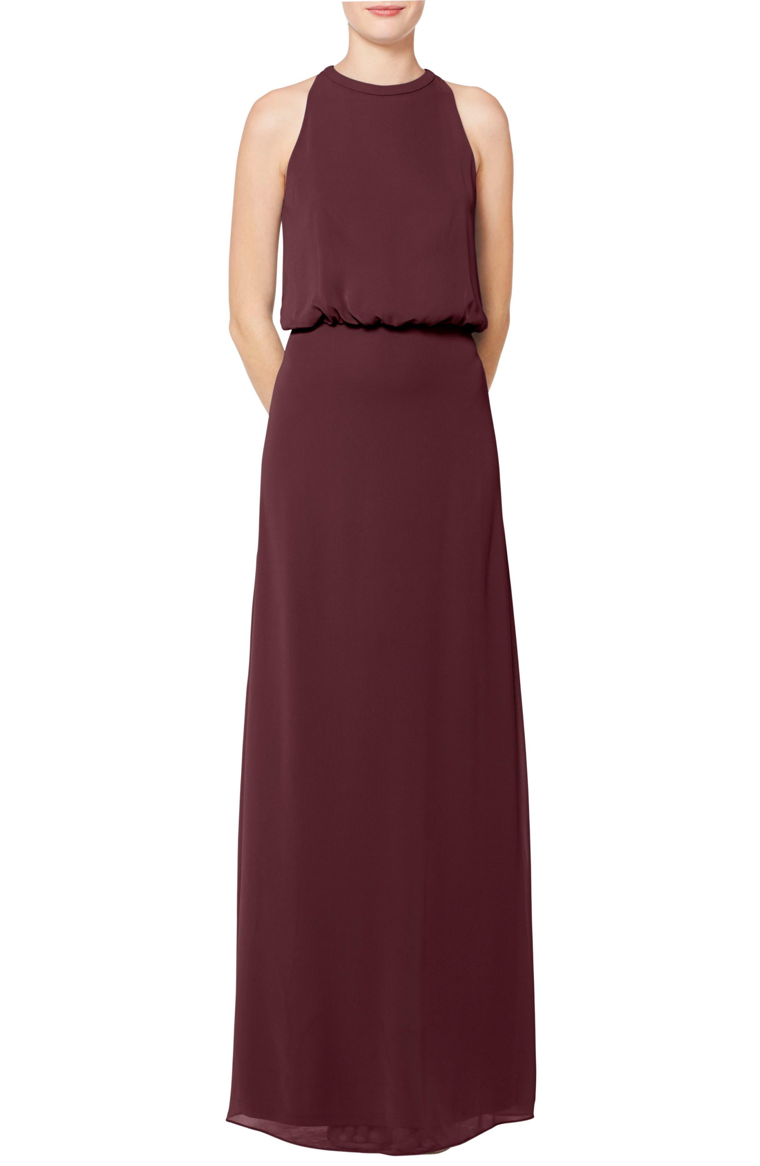 #levkoff Halter Neck Blouson Bodice Chiffon Evening Dress, Burgundy