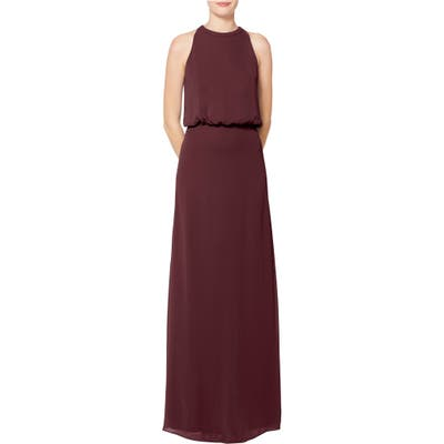 #levkoff Halter Neck Blouson Bodice Chiffon Evening Dress, Burgundy