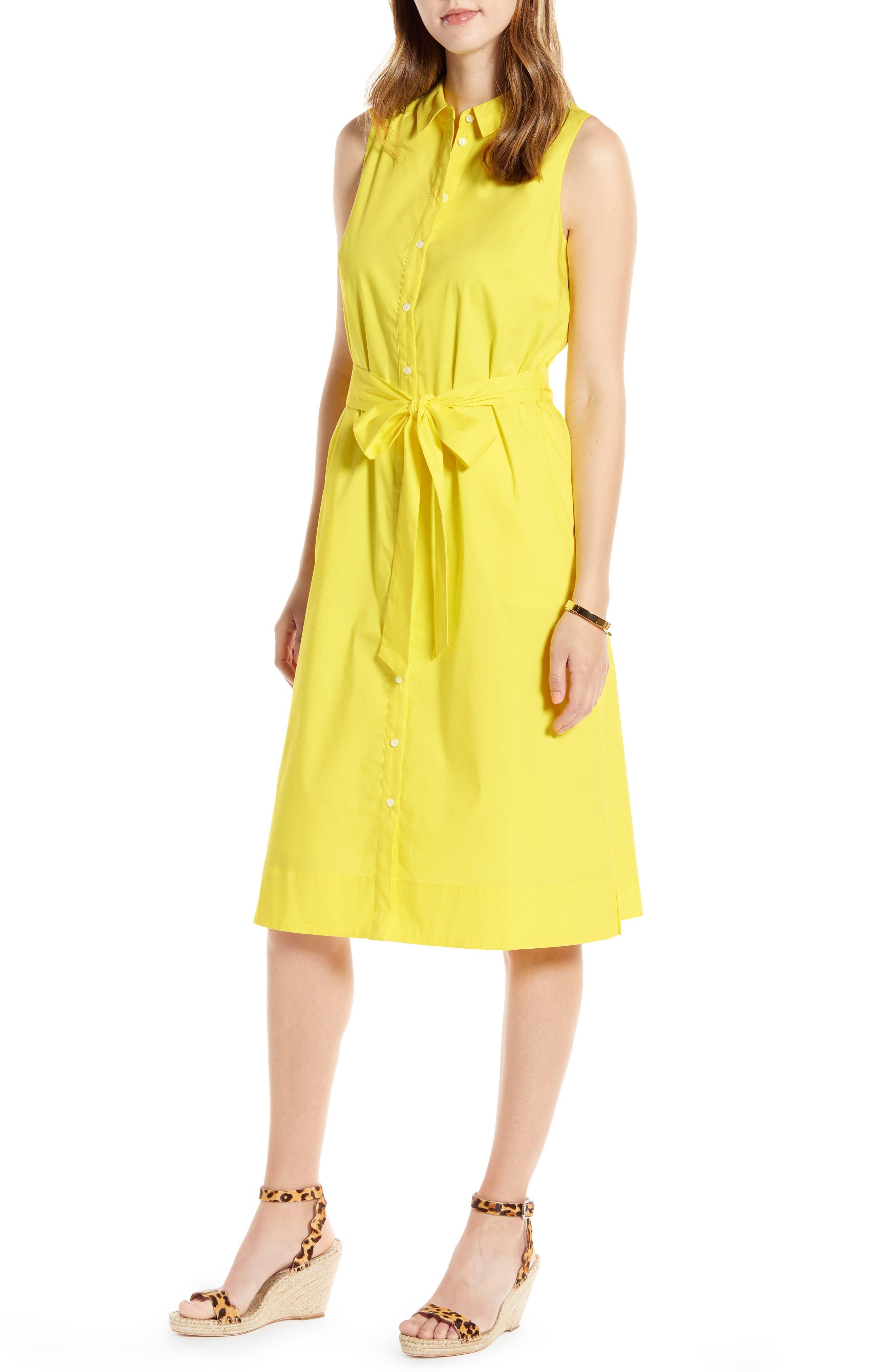 Petite 1901 Sleeveless Cotton Blend Shirtdress, Yellow