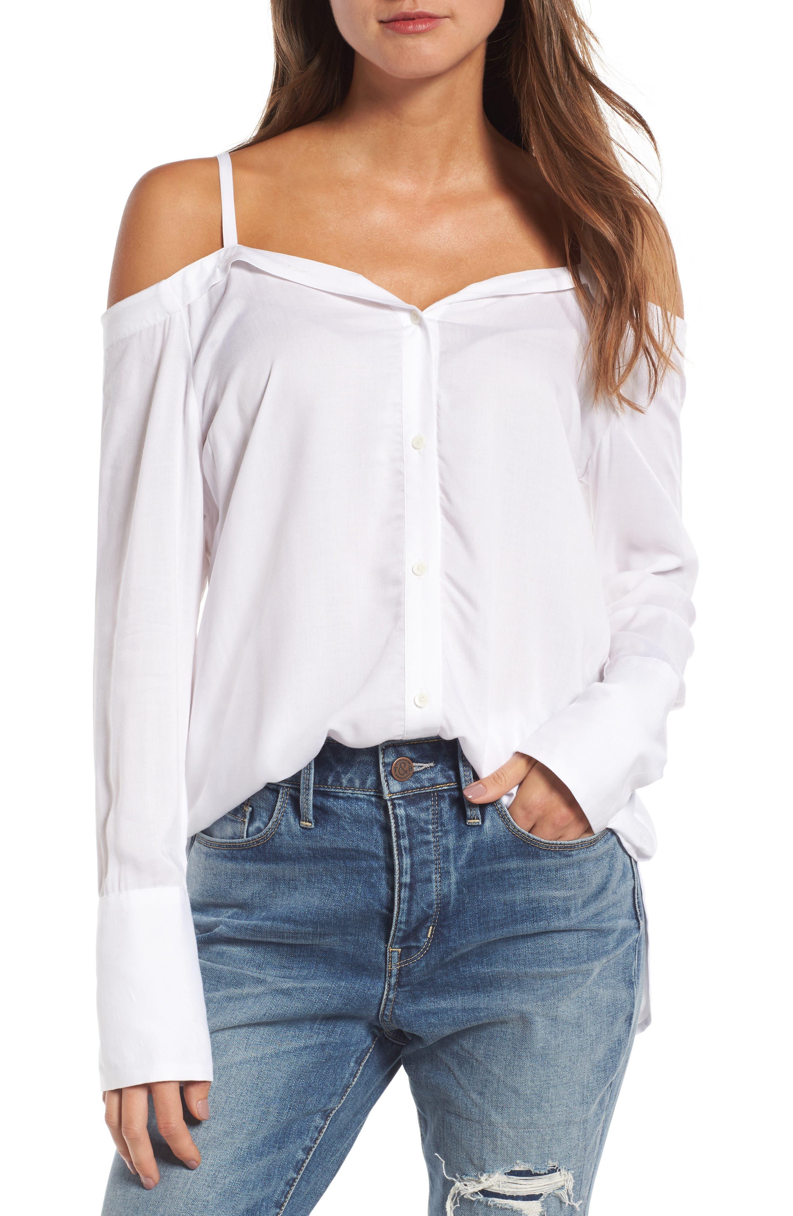 Deconstructed Off the Shoulder Shirt, Main, color, 100