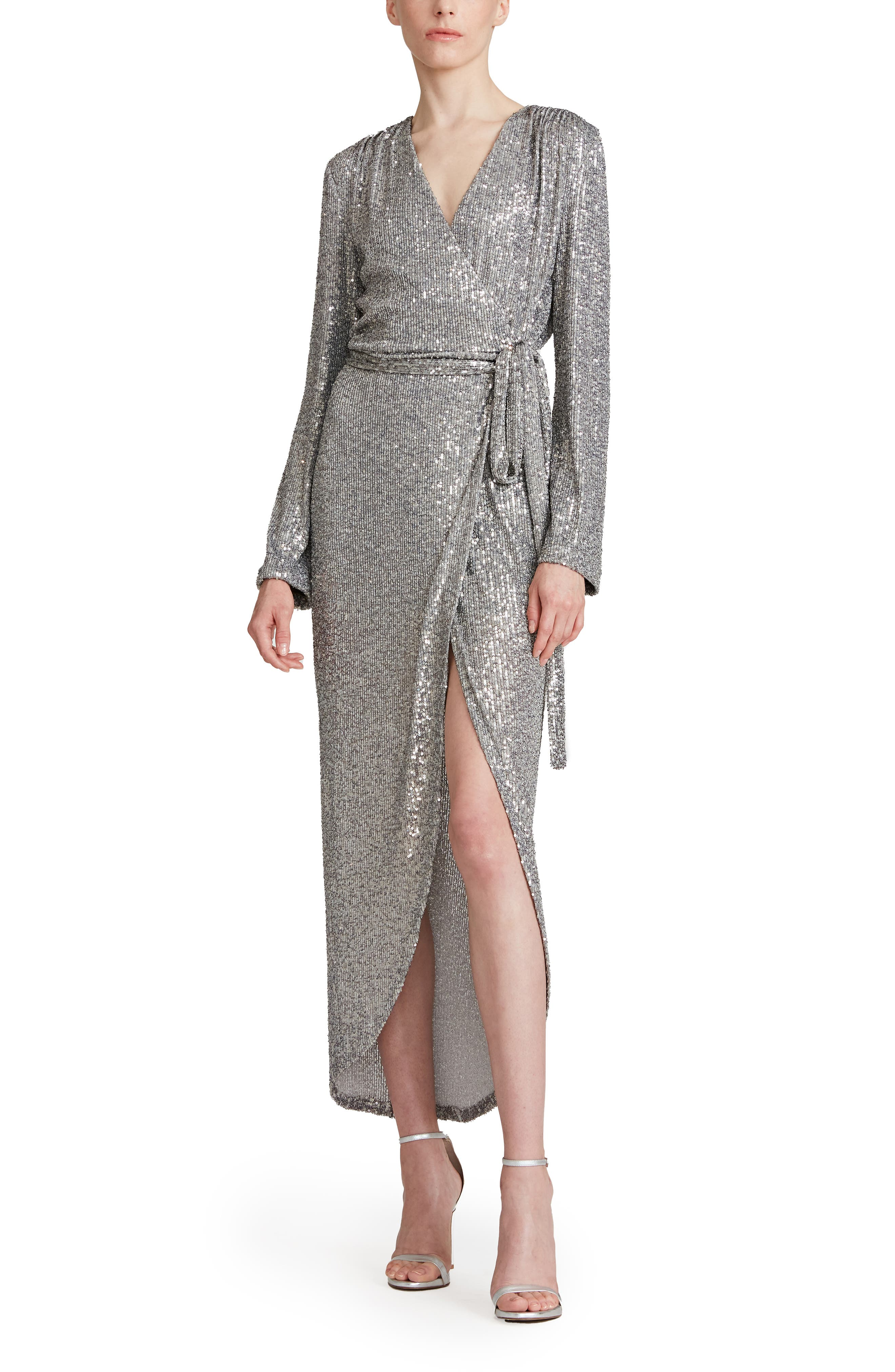 Falan Long Sleeve Sequin Wrap Cocktail Dress