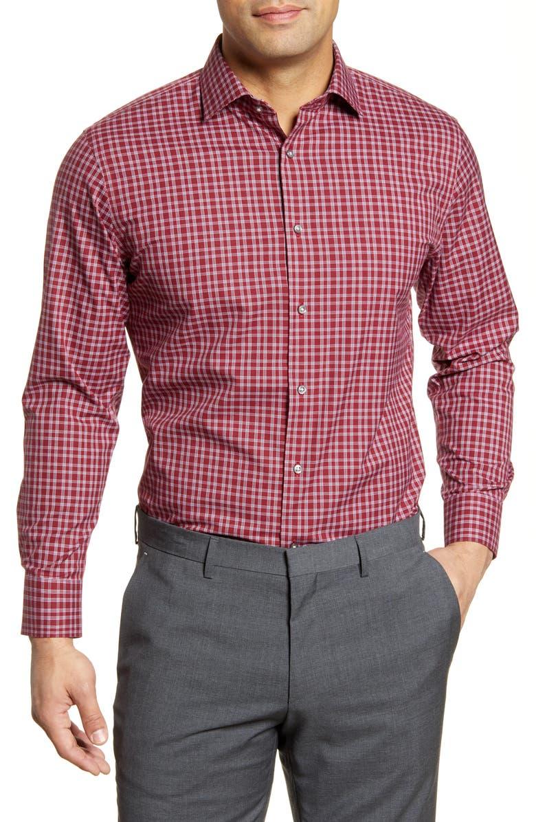 NORDSTROM MEN'S SHOP Trim Fit Non-Iron Plaid Dress Shirt, Main, color, 601
