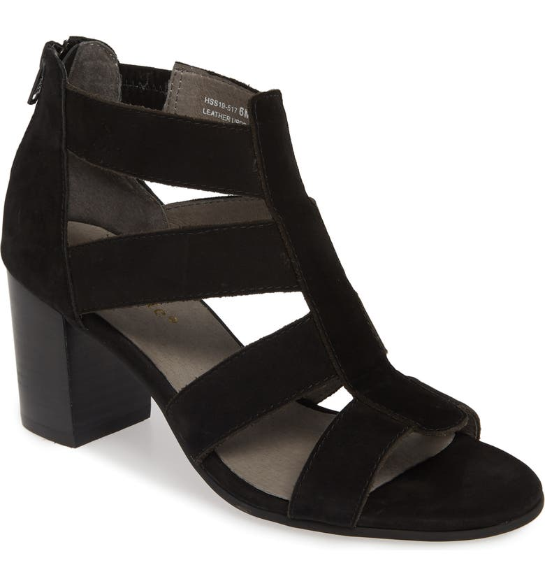DAVID TATE Francis Cage Sandal, Main, color, BLACK NUBUCK LEATHER