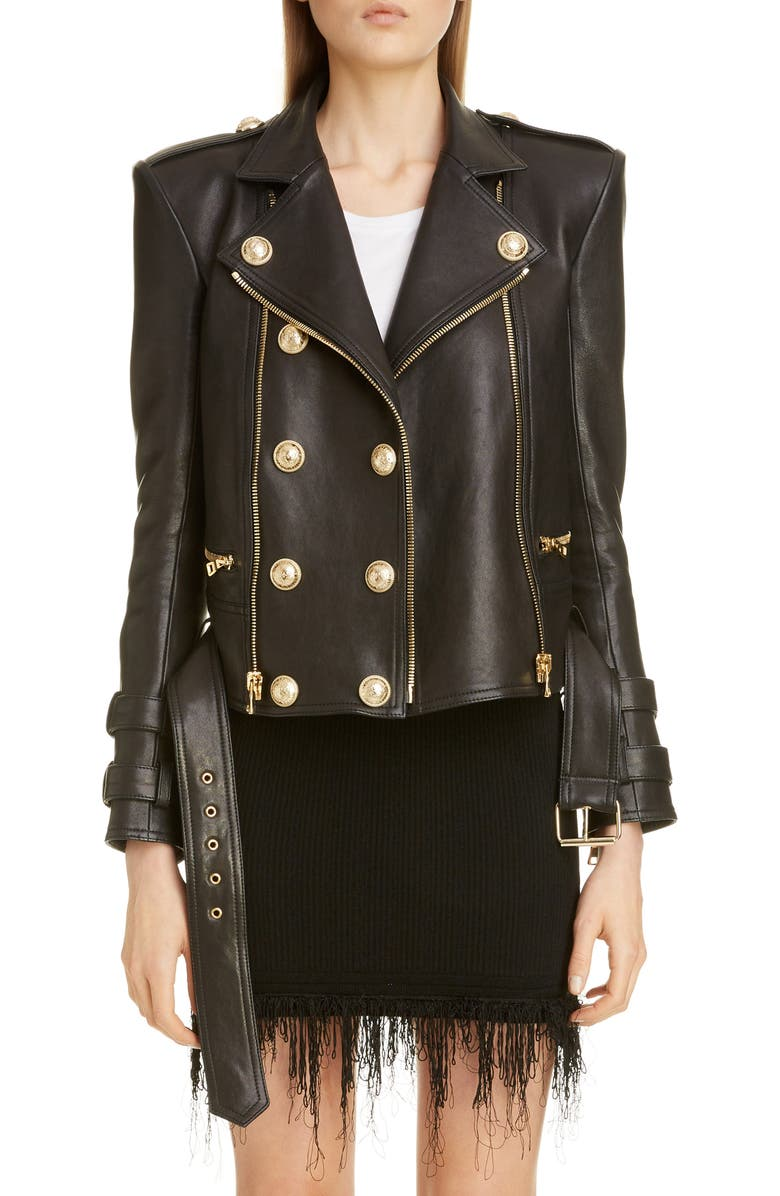 BALMAIN Lambskin Leather Moto Jacket, Main, color, NOIR