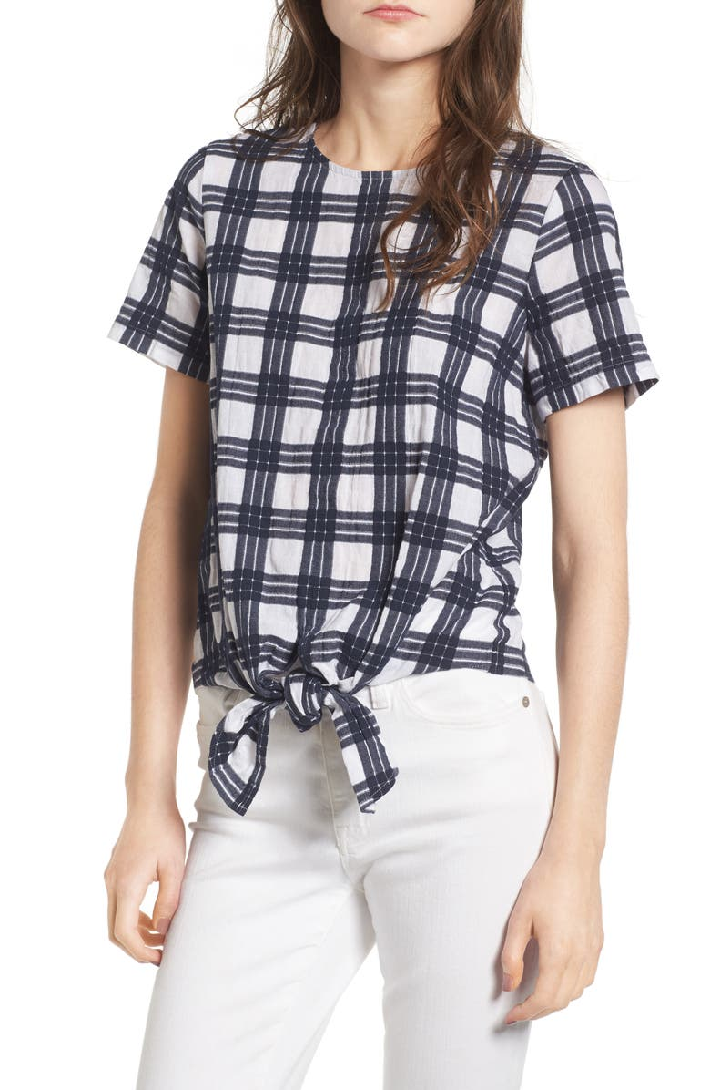 MADEWELL Plaid Tie Front Blouse, Main, color, 400