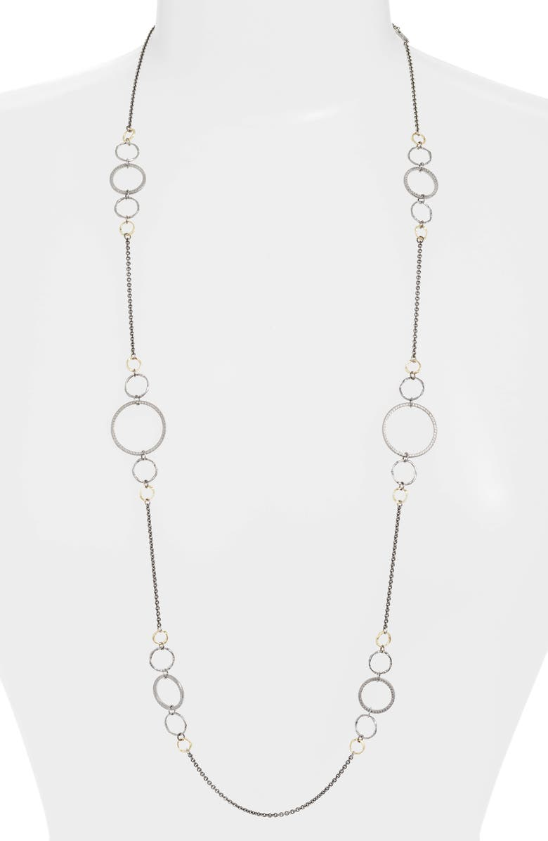 ARMENTA Old World Mixed Metal Station Chain Necklace, Main, color, SILVER