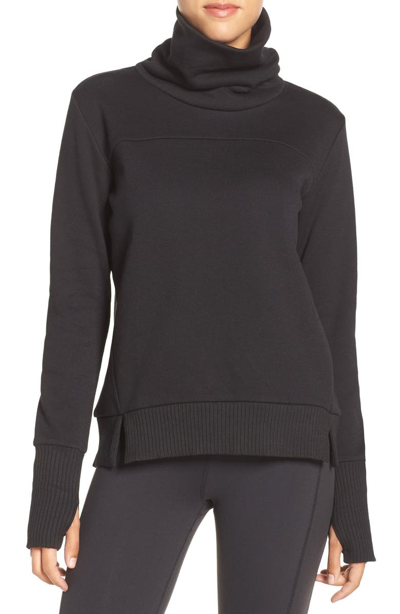 ALO Haze Funnel Neck Sweatshirt, Main, color, BLACK