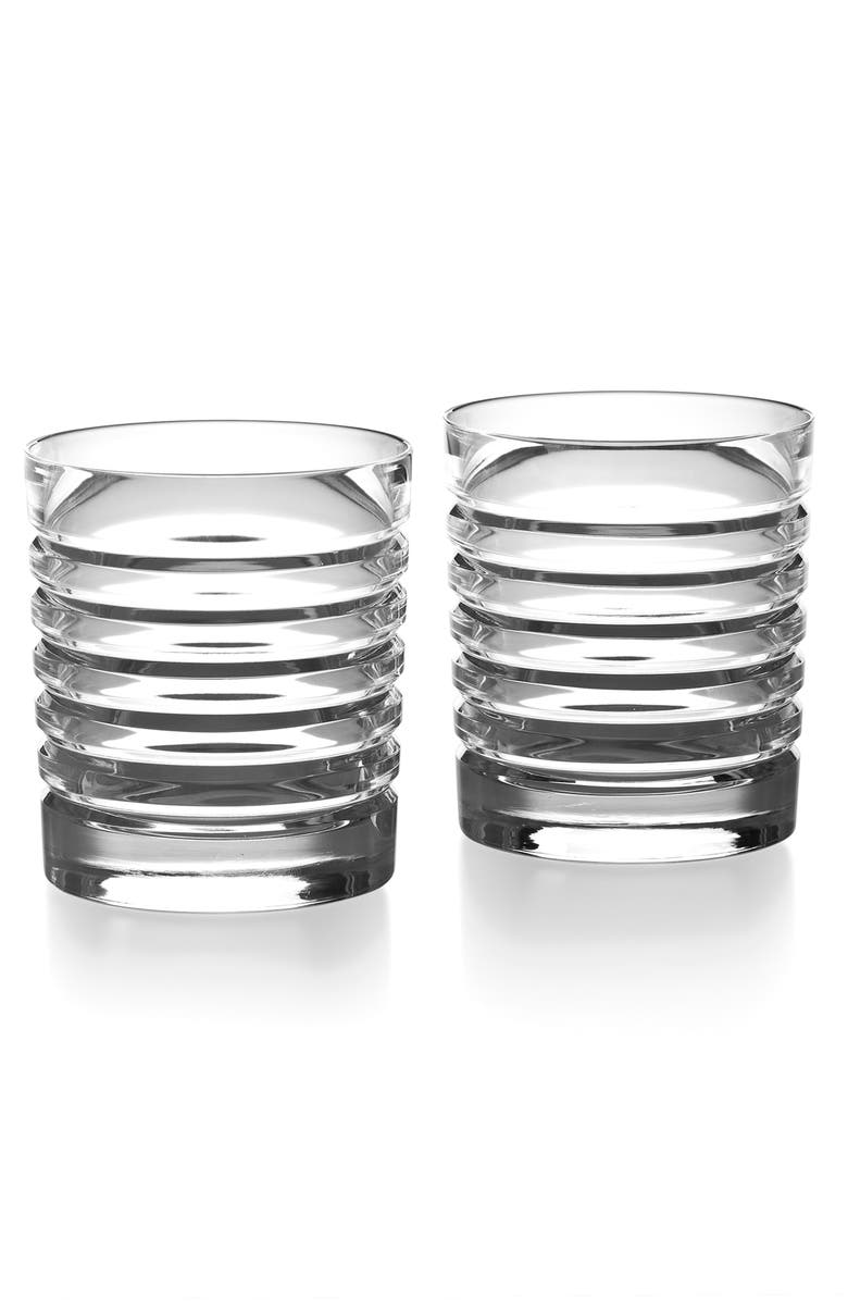 RALPH LAUREN Metropolis Set of 2 Lead Crystal Double Old Fashioned Glasses, Main, color, CLEAR