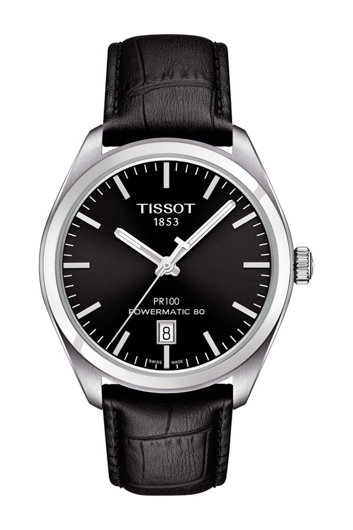 Image of Tissot Men's Dual T-Classic Leather Strap Watch, 39mm