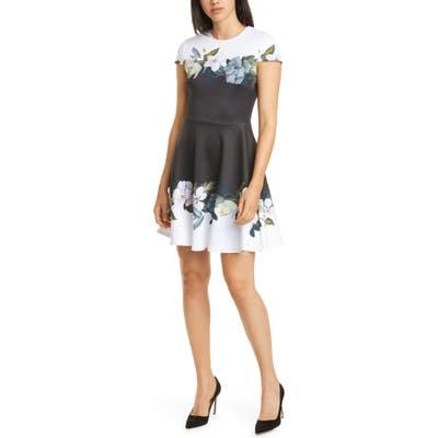 Ted Baker London Louva Opal Floral Print Skater Dress, Black
