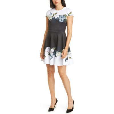Ted Baker London Louva Opal Floral Print Skater Dress, (fits like 00 US) - Black