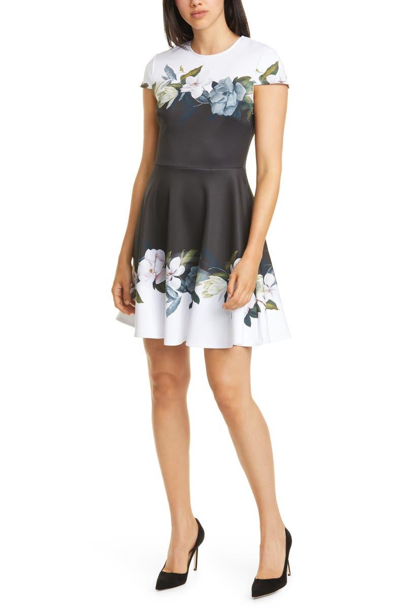 TED BAKER LONDON Louva Opal Floral Print Skater Dress, Main, color, BLACK