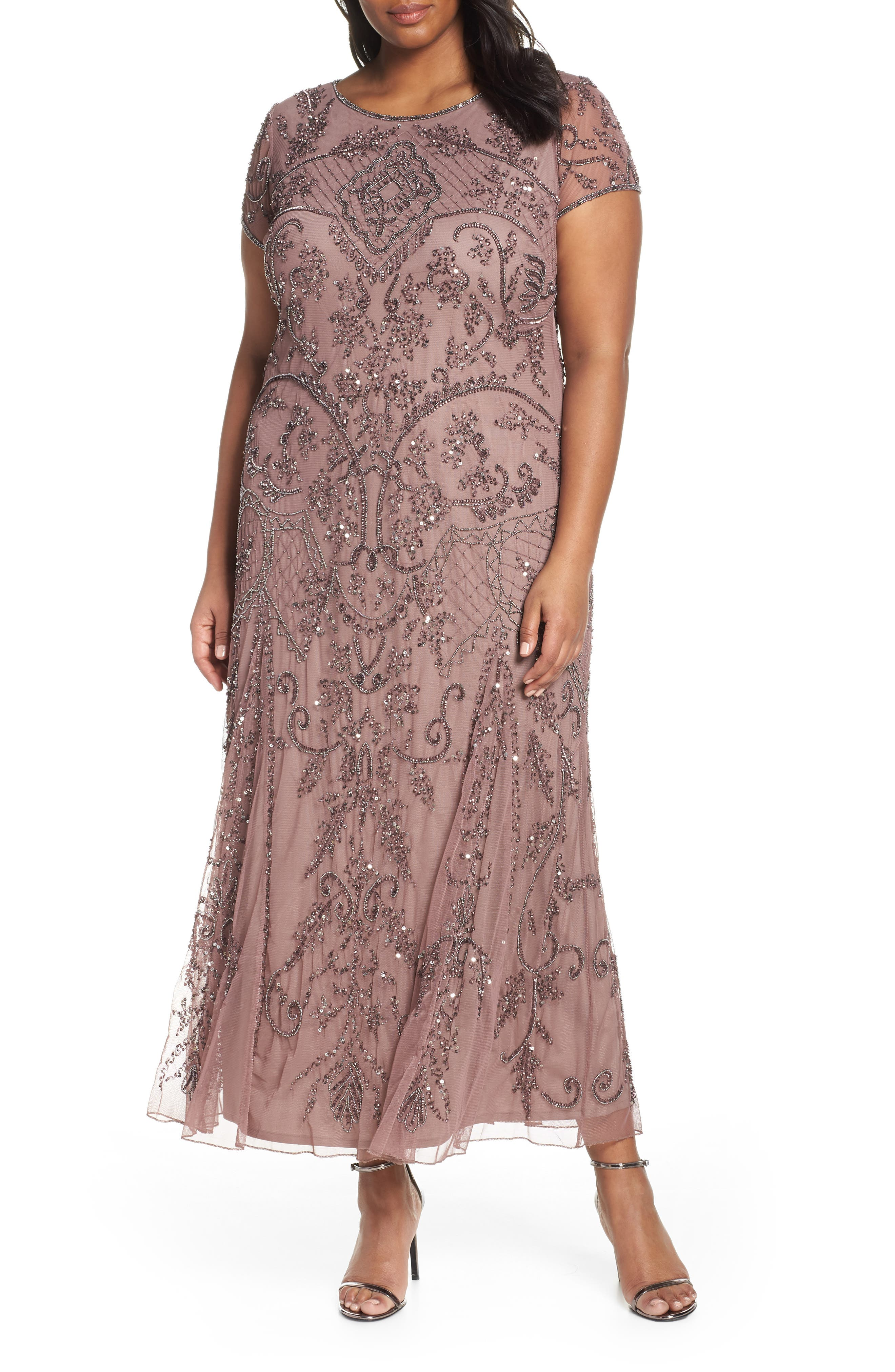 Plus Size Pisarro Nights Beaded Short Sleeve Column Gown, Purple