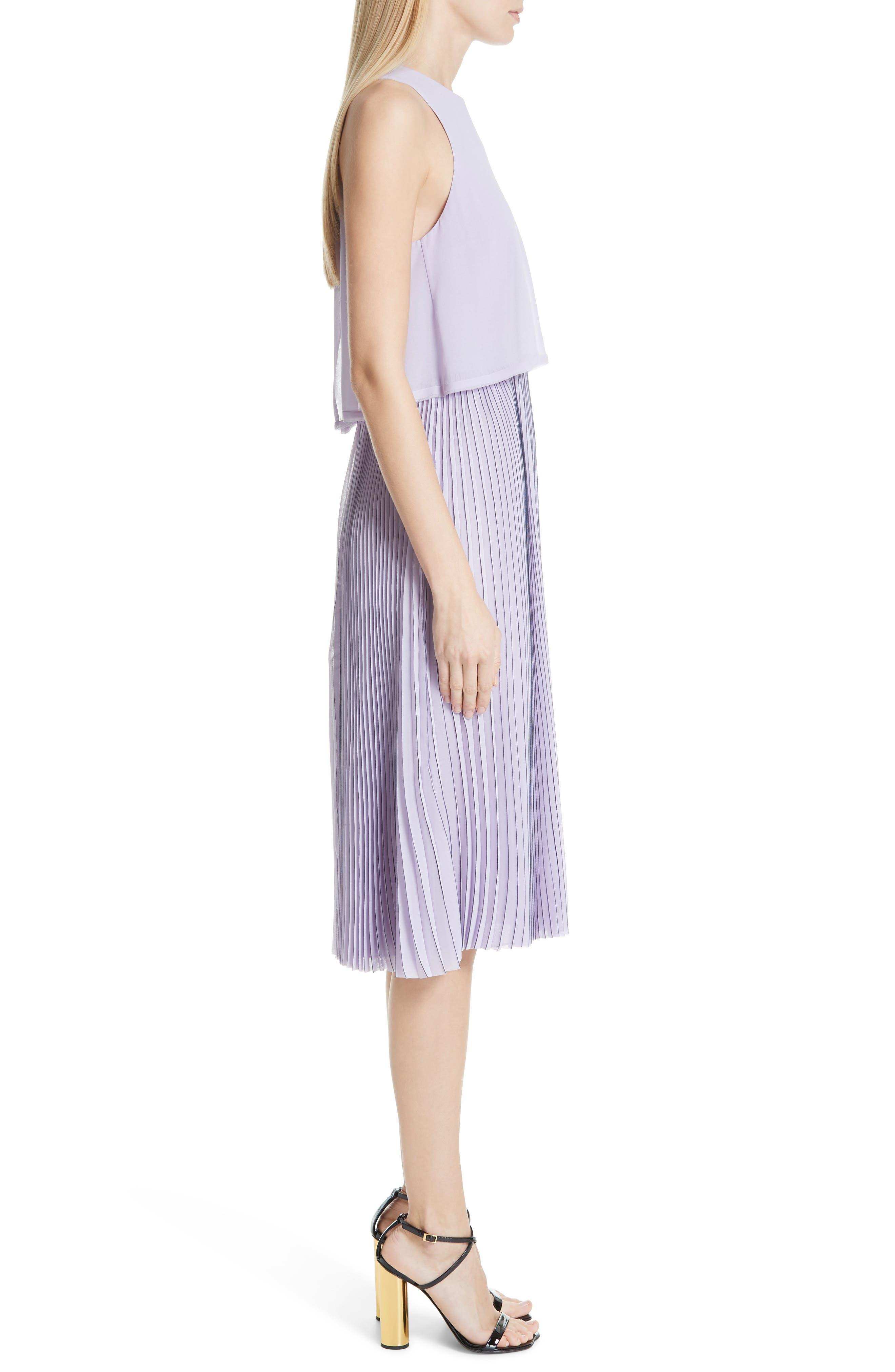,                             Pleated Popover Dress,                             Alternate thumbnail 3, color,                             PASTEL MAUVE/ DARK NAVY
