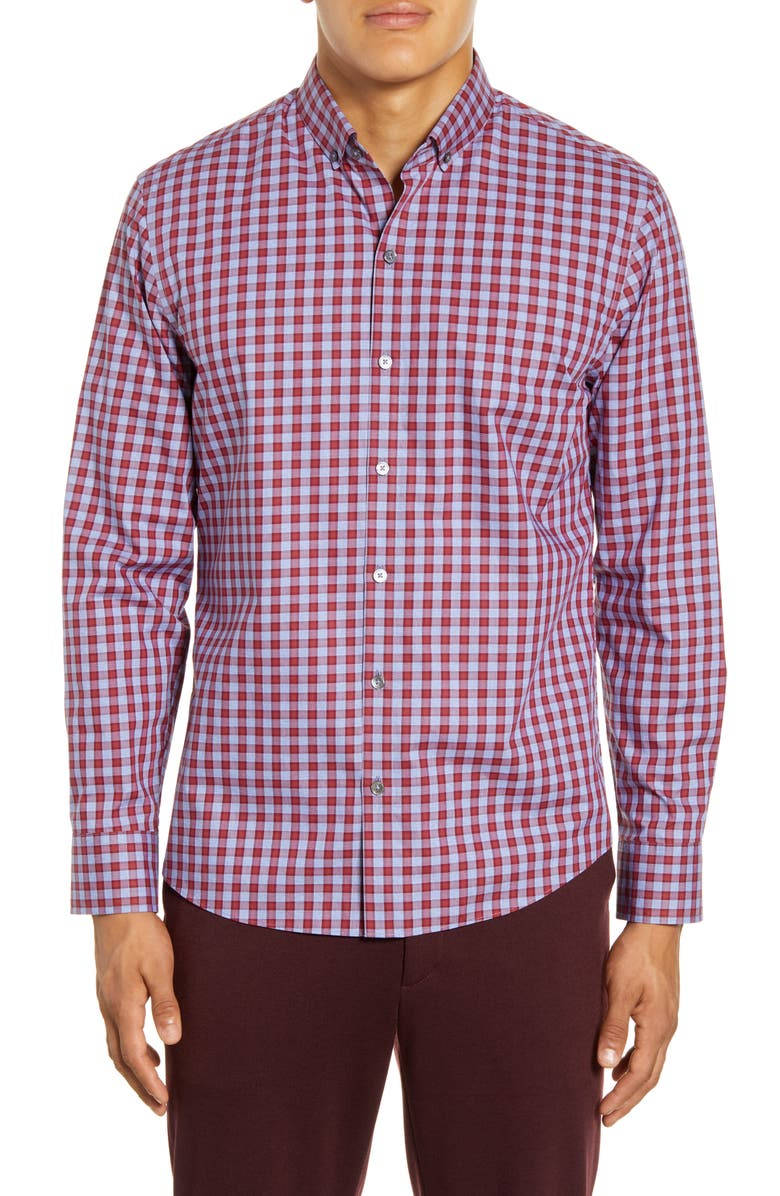 ZACHARY PRELL Lee Regular Fit Check Button-Down Shirt, Main, color, RED