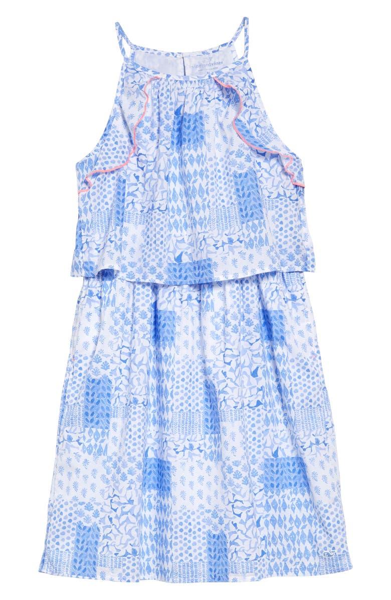VINEYARD VINES Paint Patchwork Halter Dress, Main, color, HYDRANGEA