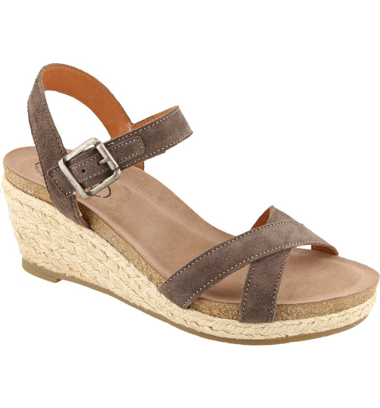 TAOS Hey Jute Espadrille Wedge Sandal, Main, color, GREY SUEDE