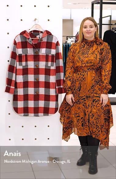 Beck Buffalo Check Hooded Wool Blend Coat, sales video thumbnail