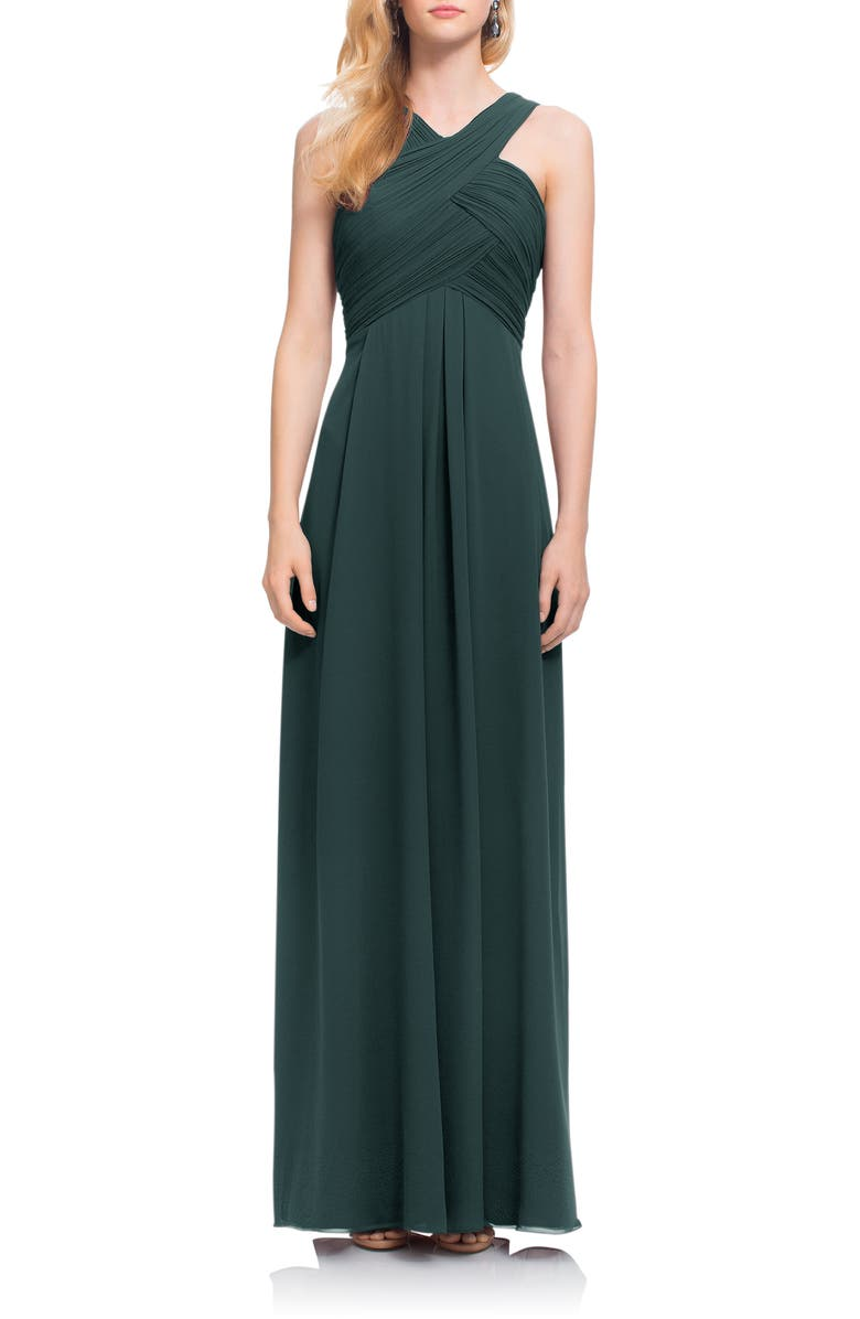 #LEVKOFF Crisscross Bodice Chiffon Gown, Main, color, EVERGREEN