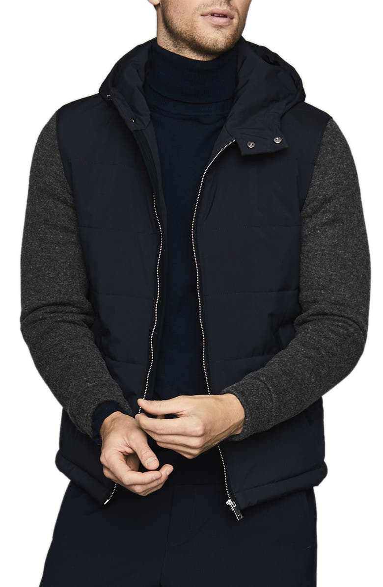 REISS Shapley Hooded Jacket with Knit Sleeves, Main, color, 410