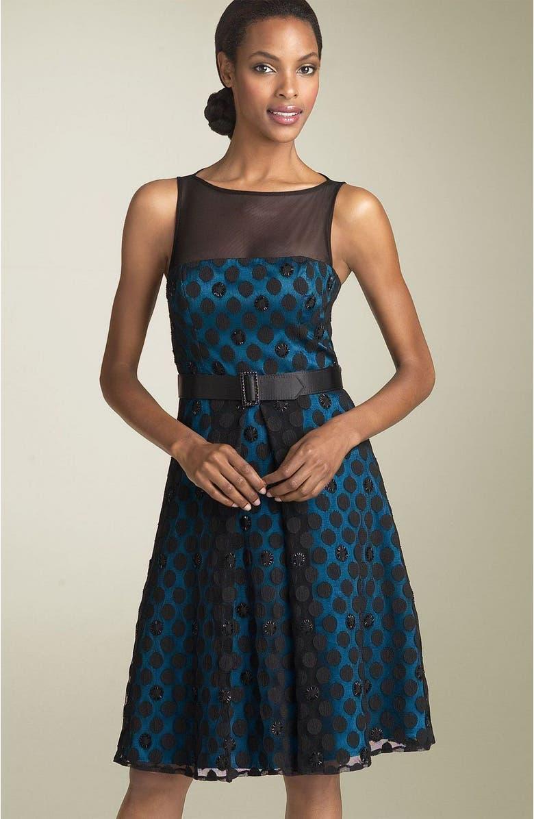 JS BOUTIQUE Mesh Dot Party Dress with Sash, Main, color, 486