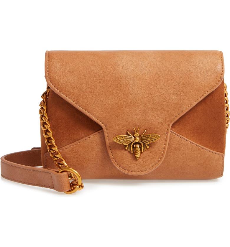 SONDRA ROBERTS Bee Lock Faux Leather Crossbody Bag, Main, color, 200