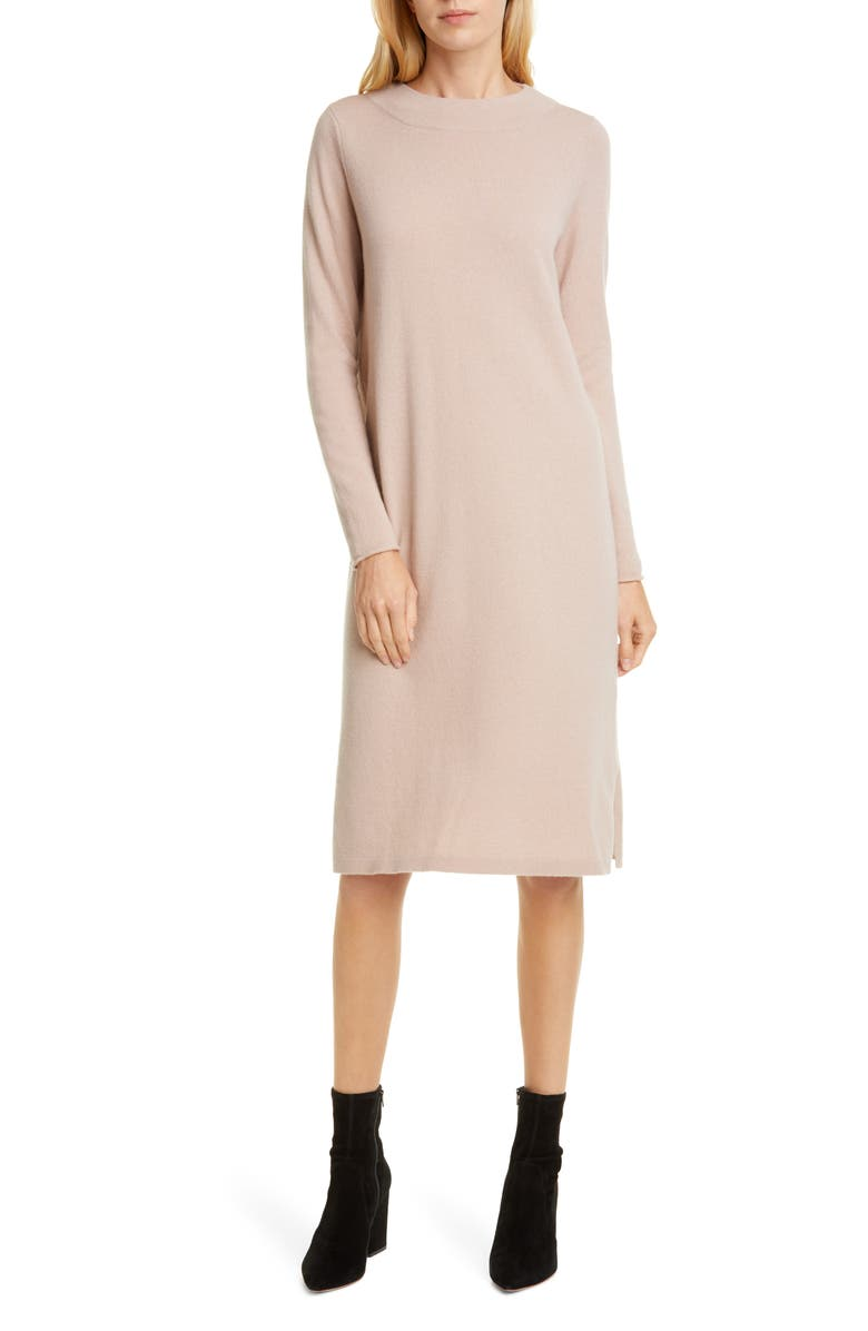 ALLUDE Cashmere Long Sleeve Sweater Dress, Main, color, 001