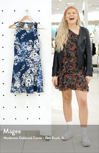 Floral Print Open Back Fit & Flare Dress, sales video thumbnail